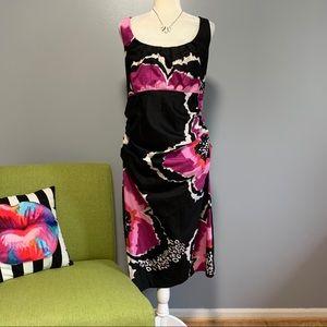 Suzi Chin Ruched Floral Midi Dress D8